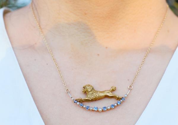 Antique Gold Poodle Necklace