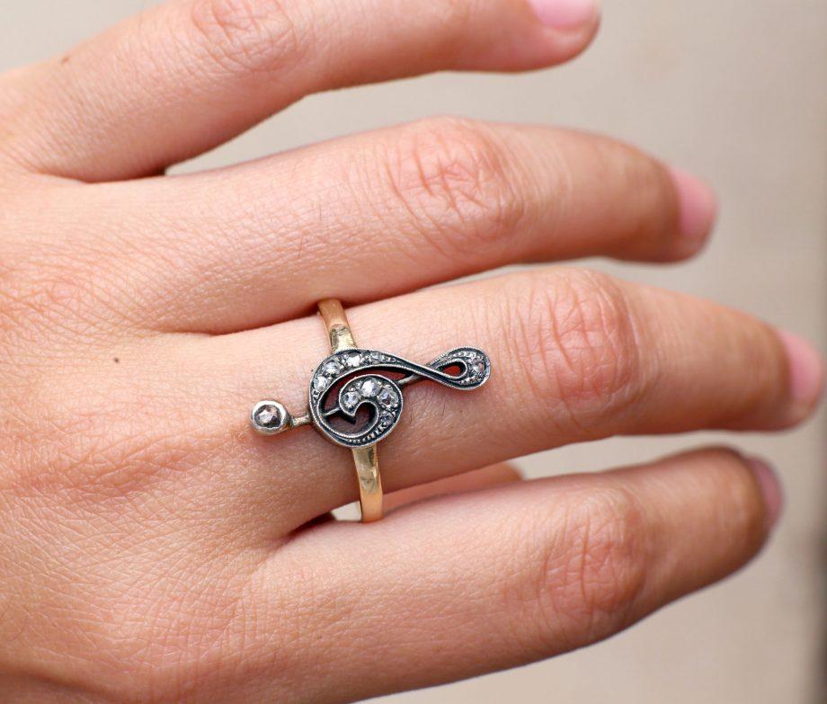 Edwardian Treble Clef Rose Cut Diamond Ring