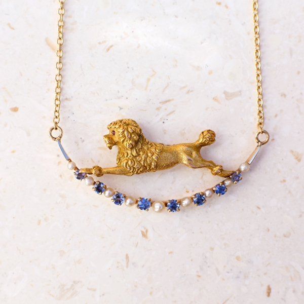 """1900s Edwardian Poodle """"Over the Moon"""" Necklace"""