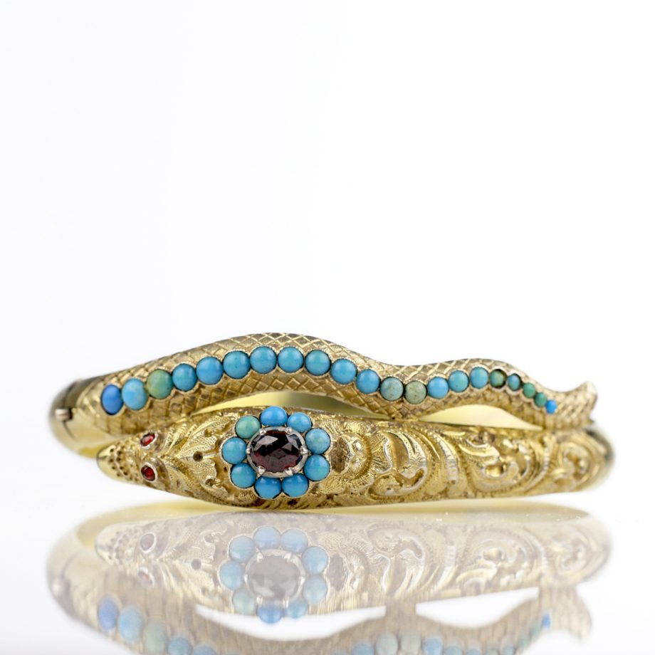 1830s Early Victorian Turquoise Garnet Chased Snake Bracelet