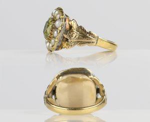 1820s Georgian Chrysoberyl Ring with Foliate Shoulders & Pearl Halo