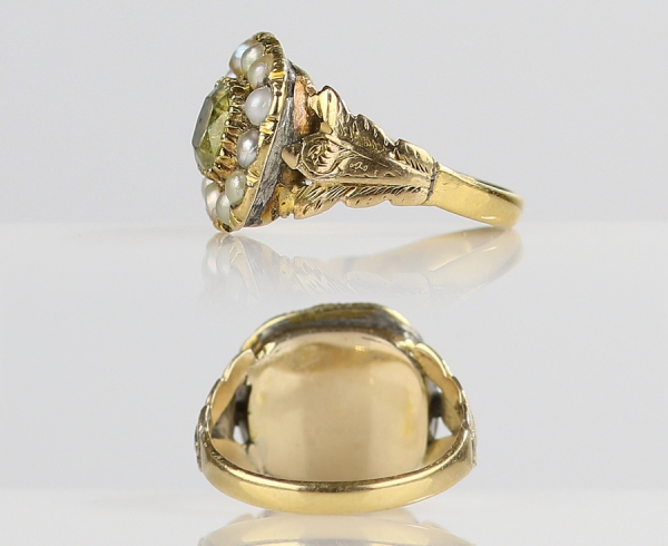 1820s Georgian Chrysoberyl Ring with Foliate Shoulders & Pearl Halo