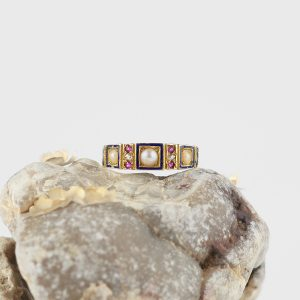 1884 Antique 18k Victorian Ring with Diamond, Ruby, & Pearls