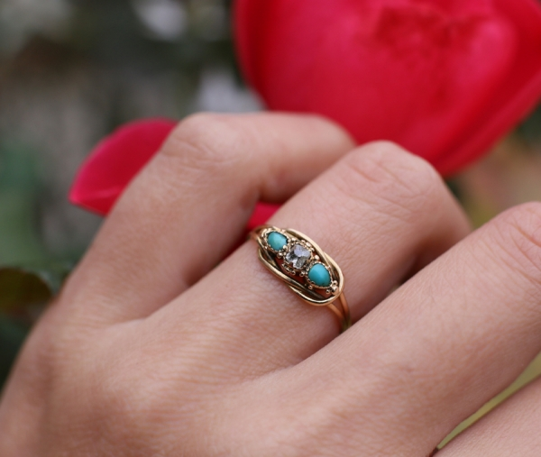 Early Victorian Turquoise & Diamond Knot Ring