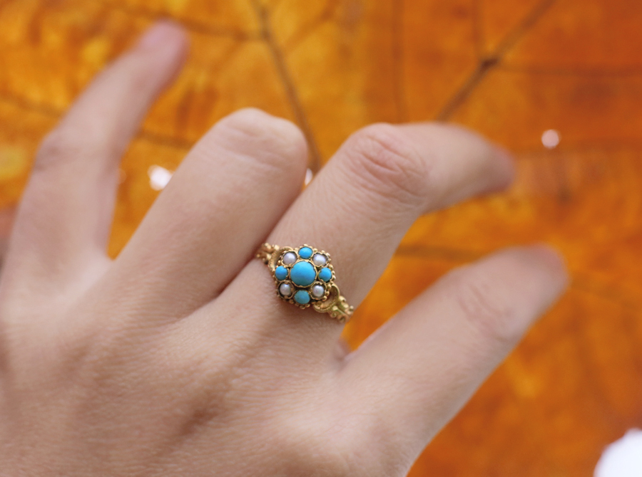1848 Victorian 15k Turquoise Ring with Natural Pearls