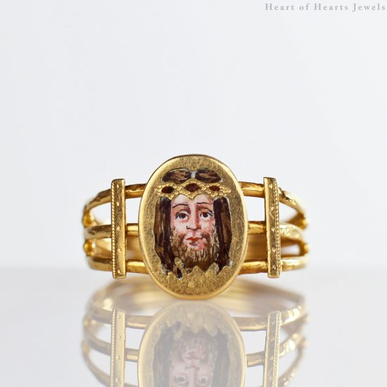 18k Victorian Aesthetic Movement Enameled Ring with Christ