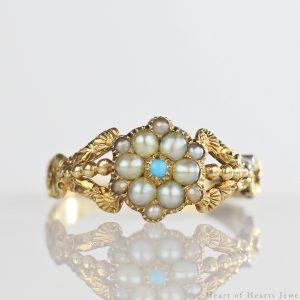 1830s Georgian Ring 18k Gold Pearls & Persian Turquoise