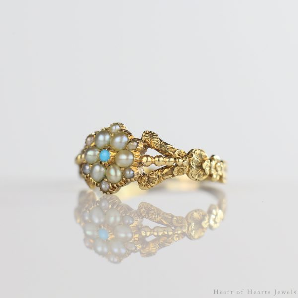 1830s Georgian Ring 18k Gold Pearls & Persian Turquoise