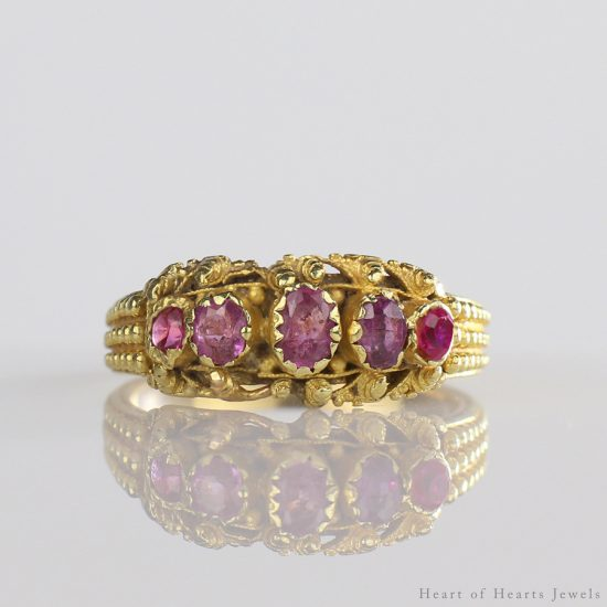 1830s 22k Georgian Cannetille Red Spinel Ring