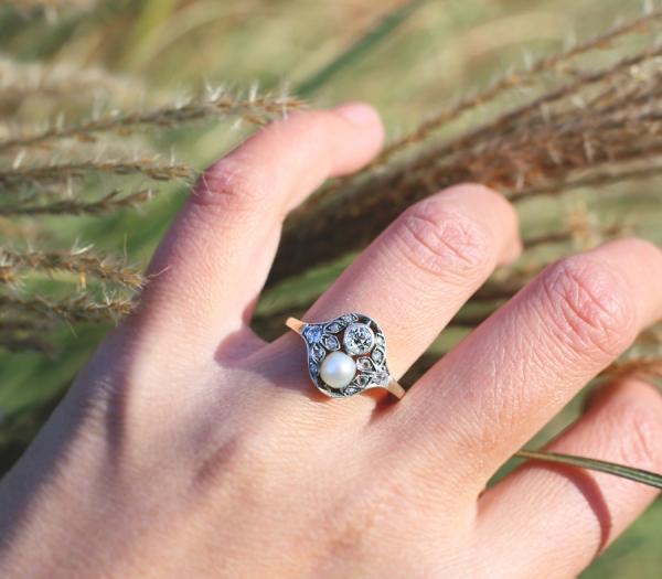 1890s Belle Epoque Pearl Old European Cut Diamond Ring