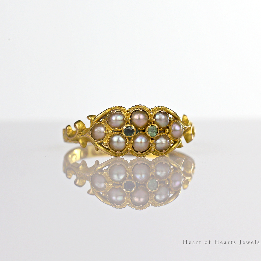 1848 Victorian Ring 15k Gold Tourmaline Seed Pearls