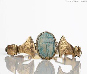 Antique Egyptian Revival Bracelet w Ancient Faience Scarab 9k Gold