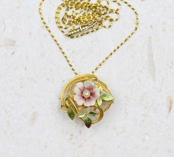 Krementz Art Nouveau 14k Bloomed Gold Floral Pendant