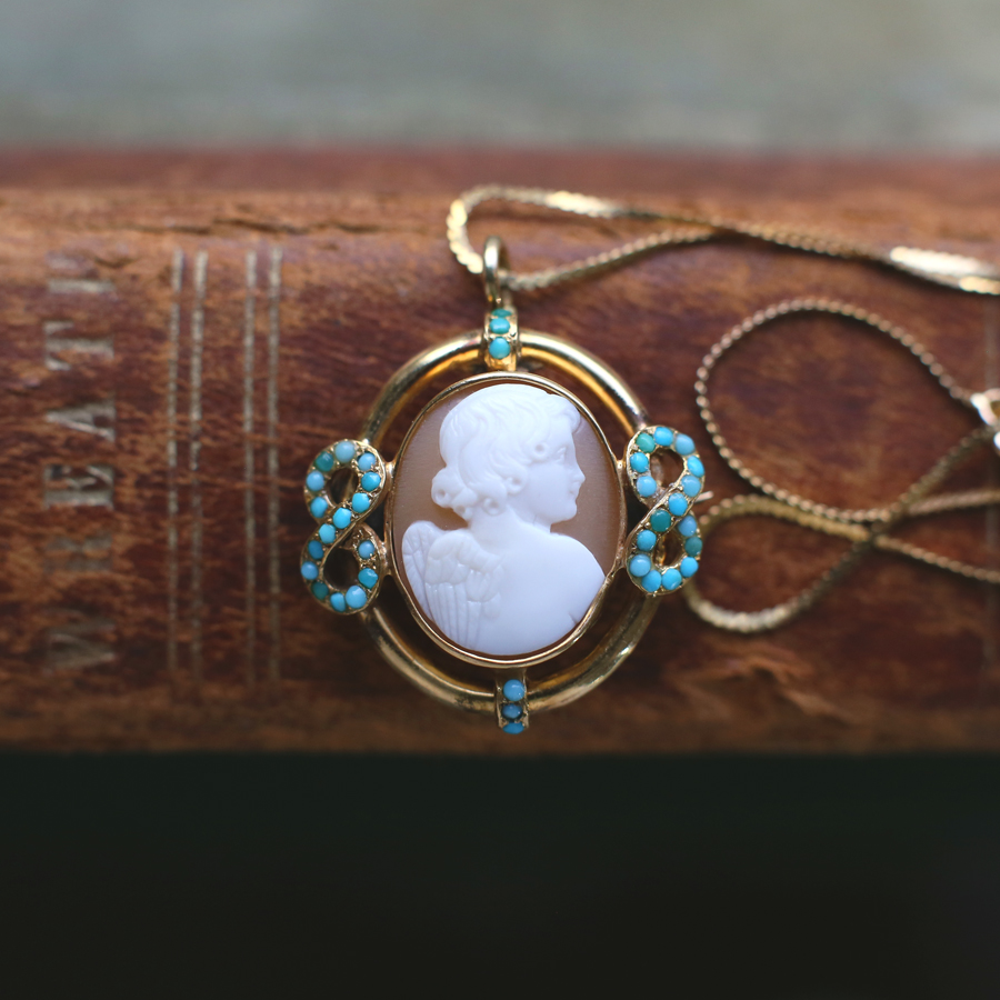 18k Victorian Turquoise & Shell Cherub Cameo Necklace