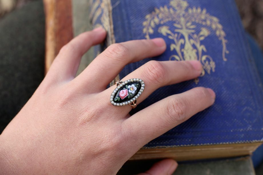 French Napoleon III Enamel Victorian Ring 18k Gold Seed Pearl Halo