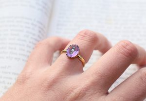 1866 Civil War Era Victorian Amethyst Ring with Diamonds 18k Gold