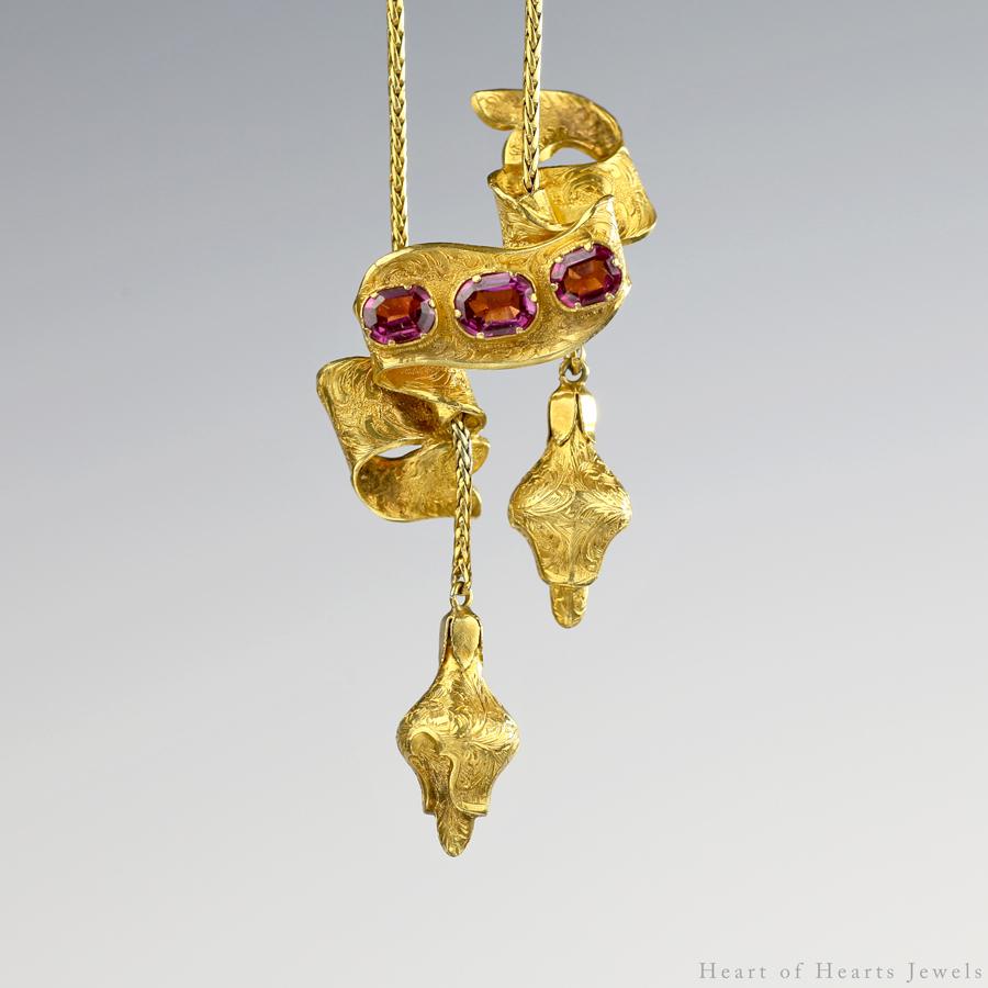 1850s Victorian 18k Gold Repoussé Necklace with Almandine Garnets