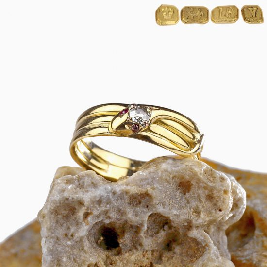 1873 Victorian Snake Ring Diamond 18K Gold
