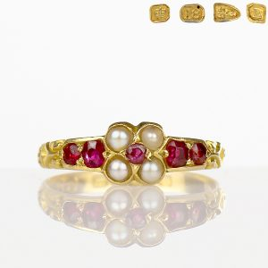 Victorian Ruby Ring 18k Gold Natural Pearls 1894 Chester
