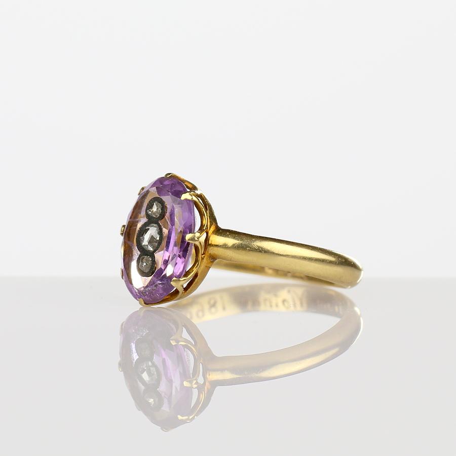 1866 Civil War Era Victorian Amethyst Ring with Diamonds 18k Gold