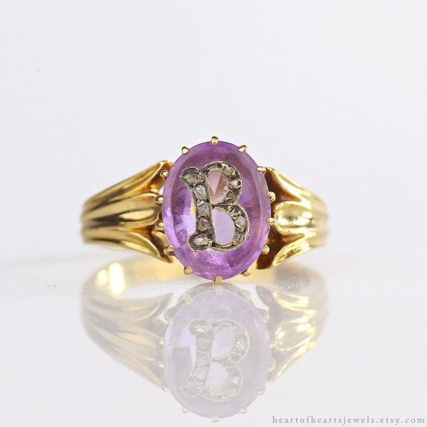 Victorian 18k Pave Diamond & Amethyst Solitaire Initial 'B' Ring