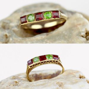 Edwardian Demantoid Garnet Ring 14k Gold 1910s