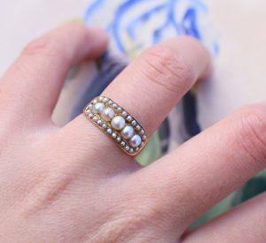 Victorian 18k Gold Half Hoop Natural Pearl Ring