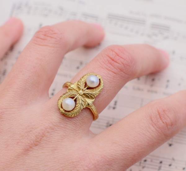 French Napoleon III Empire Natural Pearl Ring
