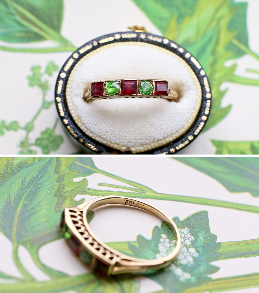 Edwardian Demantoid Garnet Ring 14k Gold 1910s