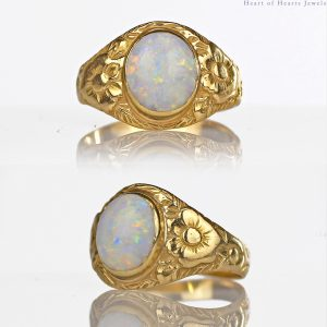 1900s Art Nouveau 14k Gold 2-ct Opal Ring