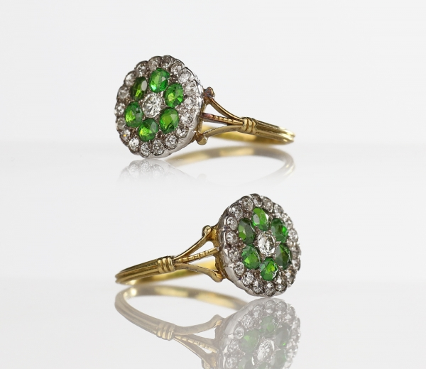 1900s Edwardian Diamond & Demantoid Garnet Platinum 18k Gold Cluster Ring