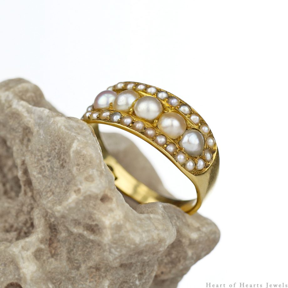 Victorian 18k Gold Half Hoop Natural Pearl Ring