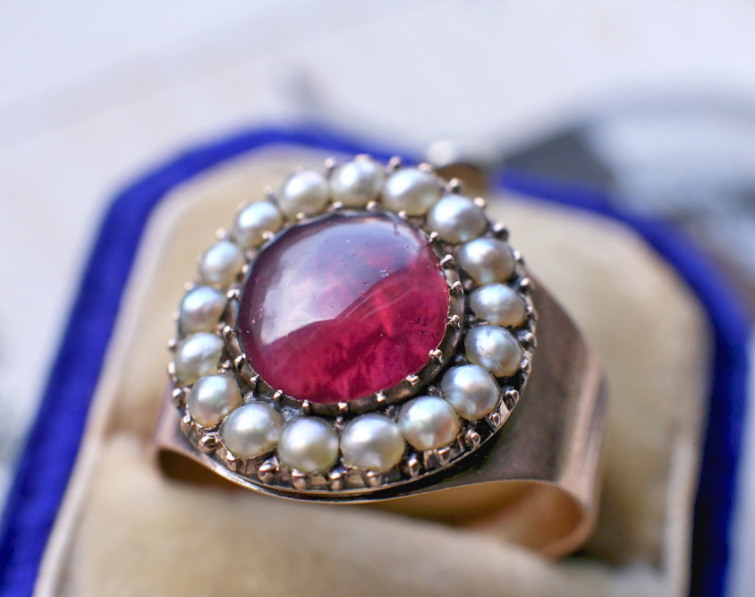 1799 Georgian Mourning Ring with Foiled Garnet & Pearl Halo