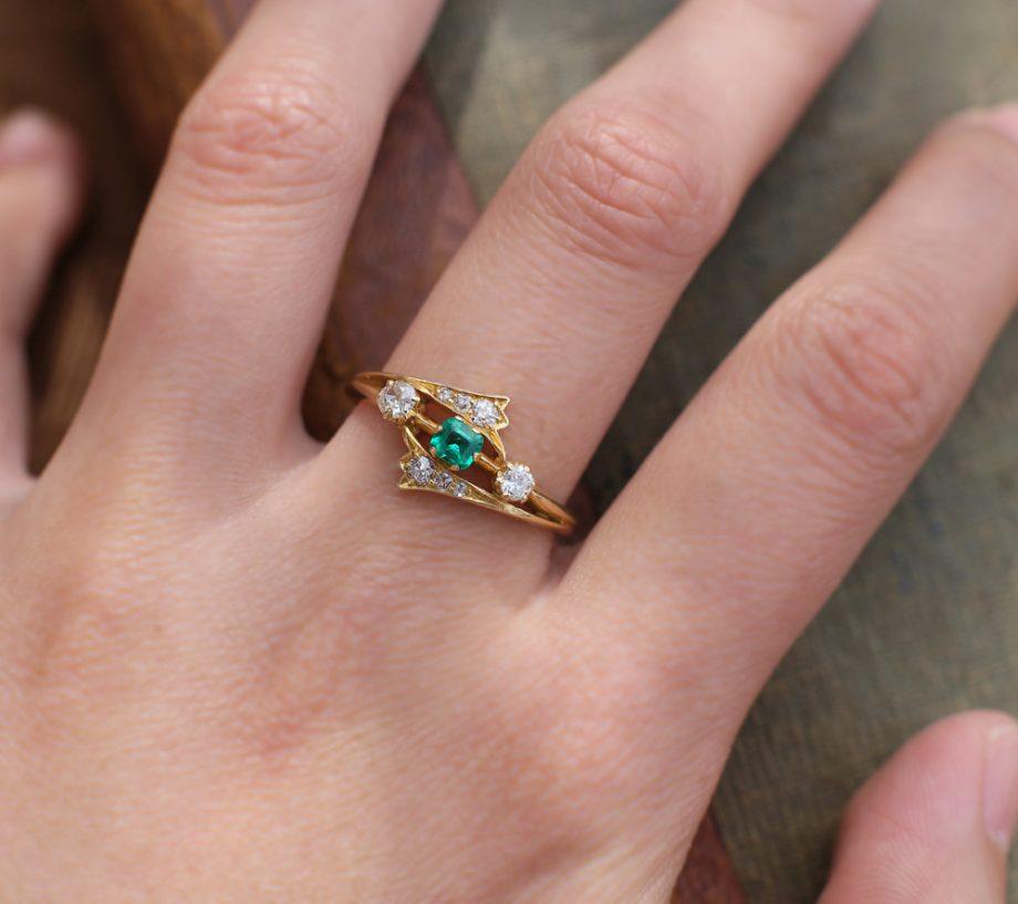 1901 Edwardian Emerald & Old Cut Diamond Ring