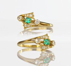 1901 Edwardian Emerald & Diamond Ring