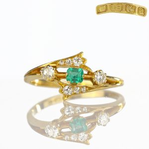 1901 Edwardian Emerald & Old Cut Diamond Ring