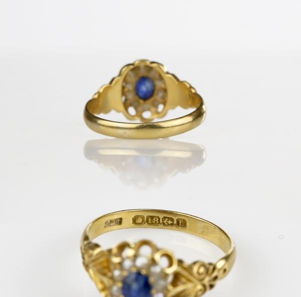 1907 Antique Ceylon Sapphire Ring 18k Gold Birmingham