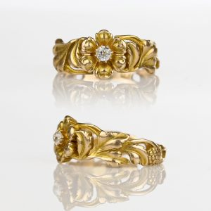 1900s Art Nouveau Floral Old European Cut Diamond Ring