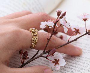 1900s Art Nouveau Floral Old European Cut Diamond Ring