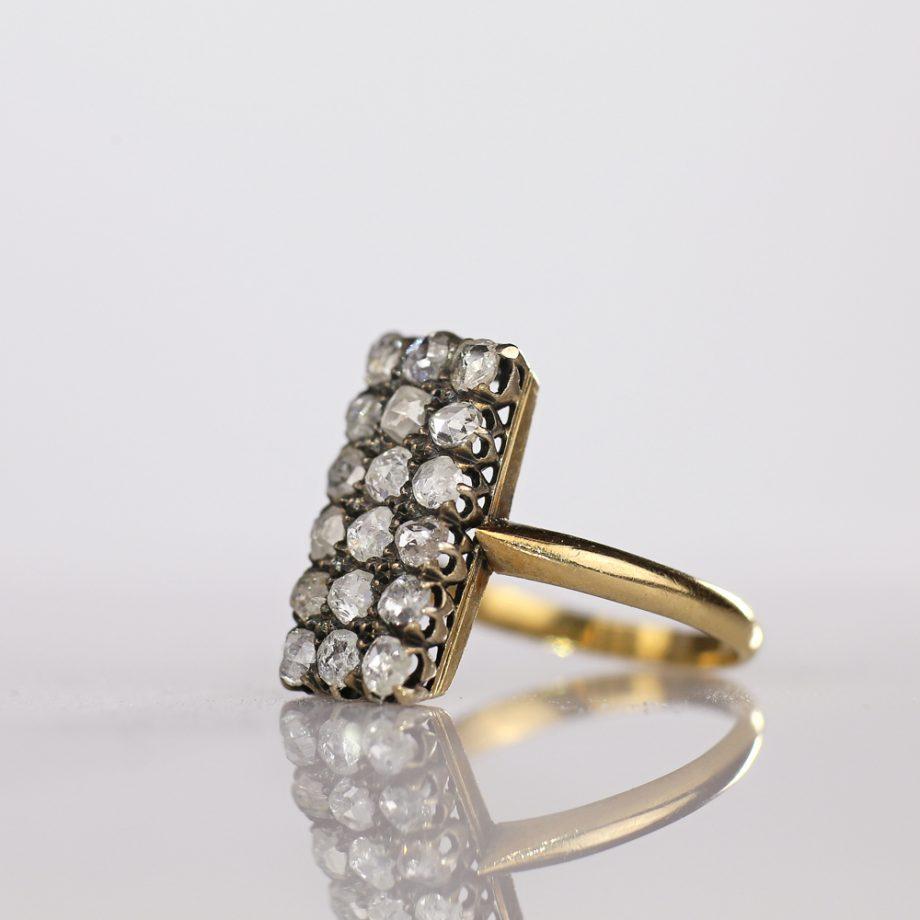 Antique 19th c French Pave Rose Cut Diamond Rectangular Ring