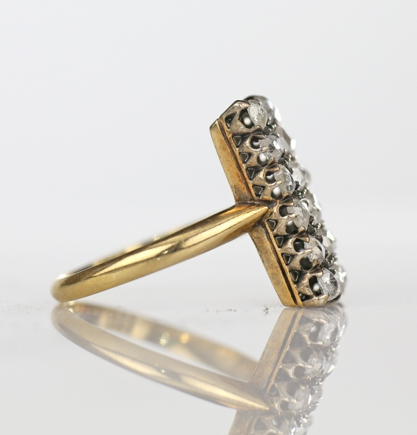 Antique 19th c French Pave Rose Cut Diamond Rectangular Ring