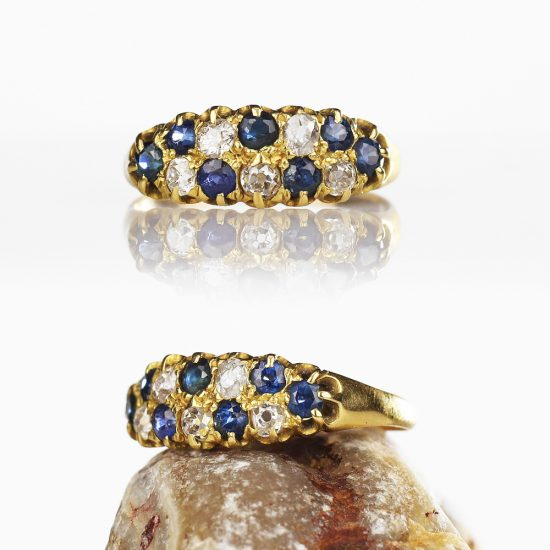 Edwardian 15k Gold Diamond Sapphire Double Row Ring