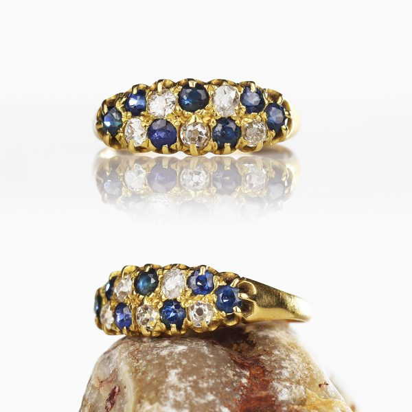 Edwardian 15k Gold Diamond Sapphire Double Row Ring