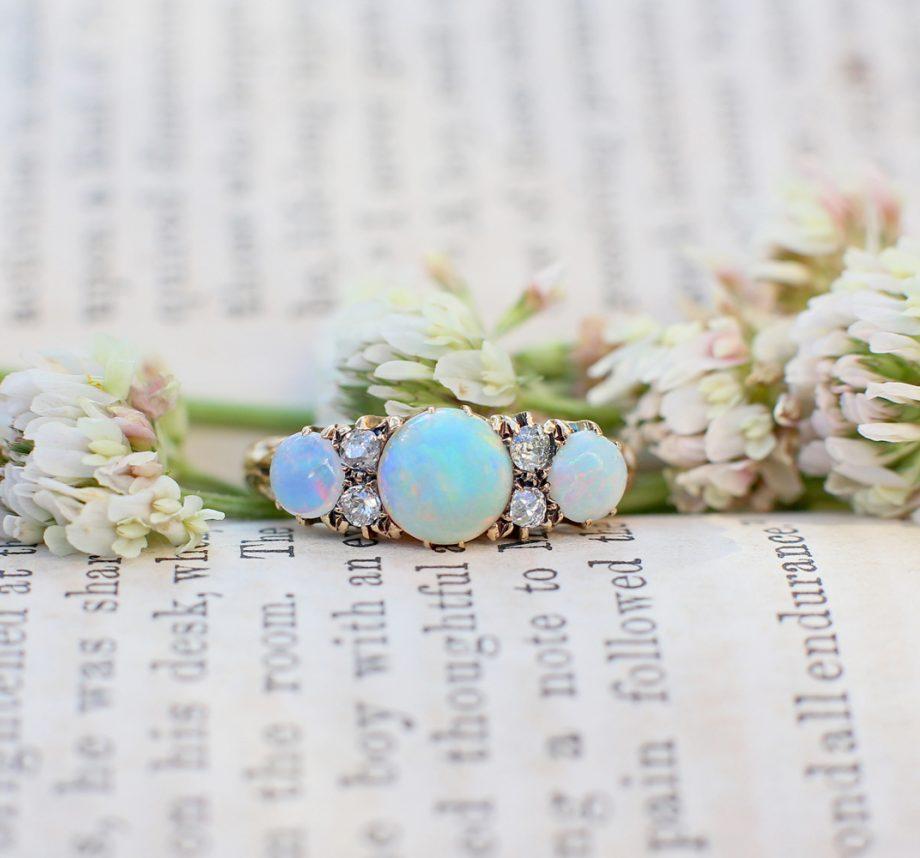 18k Victorian Opal & Old Cut Diamond Ring