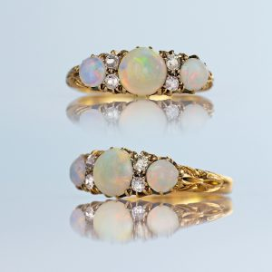 18k Victorian Opal & Old Cut Diamond Ring