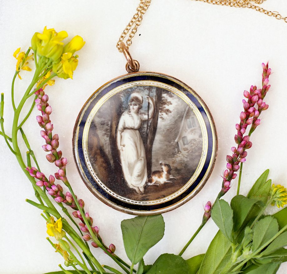 Georgian Sepia Painted Mourning Pendant