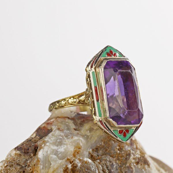 14k Art Deco Enameled Amethyst Ring