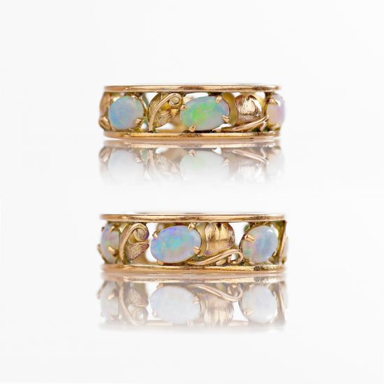 14k Arts & Crafts Opal Eternity Ring