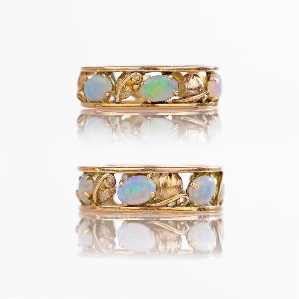 14k Arts & Crafts Opal Eternity Ring