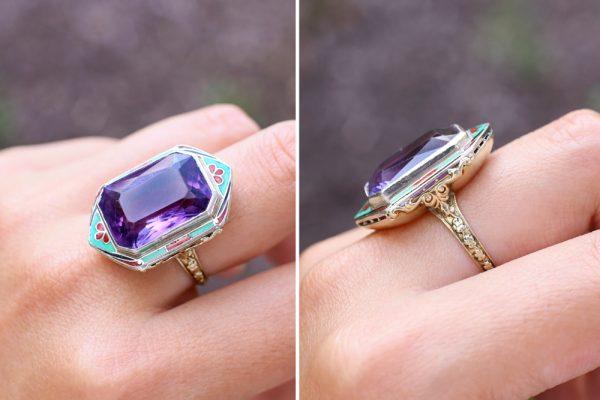 Art Deco Enameled Ring